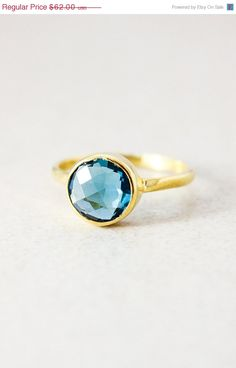 Mothers Day Sale London Blue Quartz Ring Gold or Silver by OhKuol