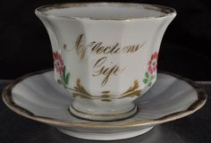 "Antique ""Affections Gift"" HP Staffordshire Cup and Saucer 19th Century"