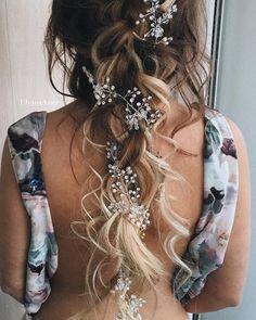 Ulyana Aster Romantic Long Bridal Wedding Hairstyles_08 ❤ See more: http://www.deerpearlflowers.com/romantic-bridal-wedding-hairstyles/2/