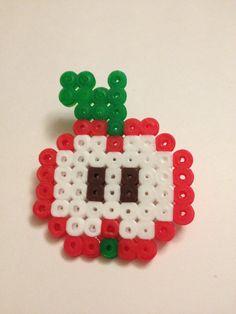 Hama bead apple slice brooch