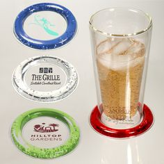 PL-4076 Beverage Chiller Pad. PVC beverage pad with freezable liquid ring. Keeps beverages cool. Place on top of traditional coaster or cocktail napkin.