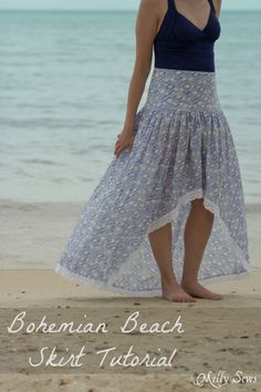 Boho Skirt Tutorial - Sew a Floaty Bohemian Skirt with this tutorial - Melly Sews