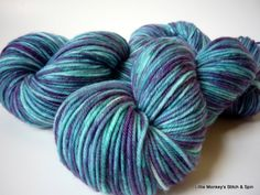 "Hand dyed Yarn, Melody DK, Superwash Merino, ""Blue Jean"", two available. $20.00, via Etsy."