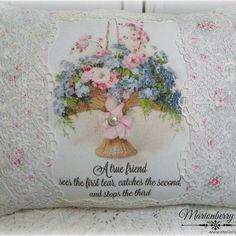 True Friend Keepsake pillow Basket of Roses
