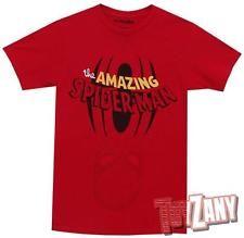 Marvel The Amazin Spider-Man Logo Mens Red Flip T-Shirt