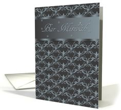 Bar Mitzvah In Blended Black And Blue/Grey With Star Of David card