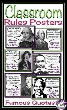 Class rules posters: famous quotes schulkram – Get your students' attention with these unique back-to-school classroom rules posters. Each of the 6 posters include a quote from a famous person which relates to a classroom rule. Class Rules Poster, Classroom Rules Poster, Social Studies Classroom, Middle School Classroom, Future Classroom, Teaching Social Studies, Bulletin Board Ideas Middle School, 6th Grade Social Studies, History Teachers