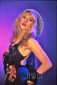 Tiny Stevie Nicks, in dusty blue velvet beret, spaghetti strap leotard, holding a floral shawl. Lindsey Buckingham, Buckingham Nicks, Members Of Fleetwood Mac, Stephanie Lynn, Stevie Nicks Fleetwood Mac, Women Of Rock, My Sun And Stars, Vogue, Rockn Roll