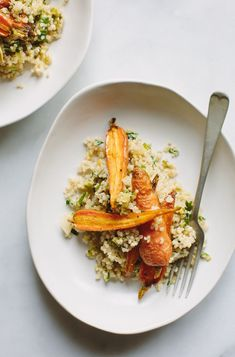roasted baby carrot, leek + quinoa salad #vegan