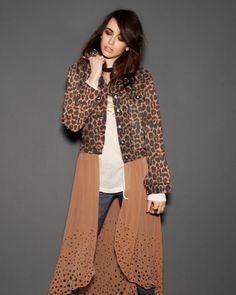 One Teaspoon Surrender Jacket - Jackets, Vests & Coats - Clothing - Grab this easy transeasonal jacket in an awesome leopard print. It has a distressed vintage denin look and can be thrown over a tee and skinny jeans.