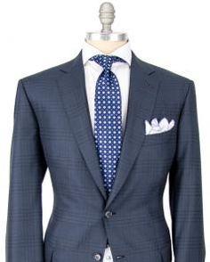 Image of Brioni Navy Tonal Windowpane Suit