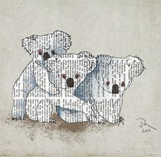 Australia Koala Brother Sister Giclee Art Print by OrangeOptimist, $45.00