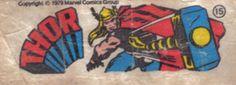 Thor - Essa é uma coleção de 36 figurinhas dos Super-Heróis da Marvel, do chiclete Ping-Pong, lançadas em 1979, as quais colecionei todas e colei na cômoda do quarto, como todo mundo fez.