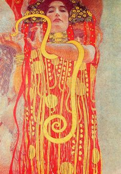 University of Vienna Ceiling Paintings (Medicine), detail showing Hygieia, 1900 - 1907 - Gustav Klimt