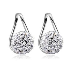 Pair of Delicate Rhinestoned Ball Water Drop Stud Earrings For Women ❤ liked on Polyvore featuring jewelry, earrings, ball jewelry, stud earrings, rhinestone earrings, ball earrings and rhinestone jewelry