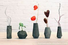 Bloktagons - DIY Paper forms for Wax or Concrete - Make candles, knobs for hanging or drawer pulls