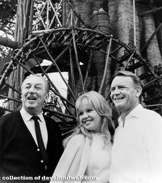 Actress Hayley Mills and her actor-father John Mills join Walt Disney in the tree house sequence of the Disneyland 10th Anniversary show to be telecast in color.