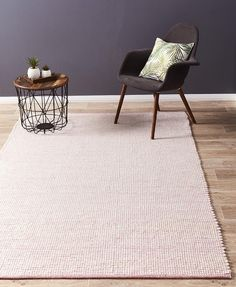 Loft Stunning Wool Pink Rug! A beautifully textured weave with a playful touch of colour. HANDMADE with 100% WOOL.