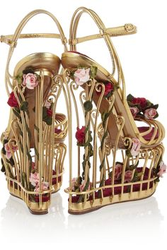 Dolce & Gabbana | Rose-embellished metallic leather cage sandals.