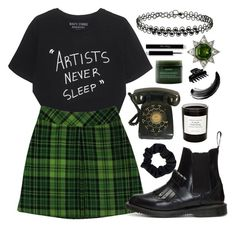 """""""artists never sleep (TFS OCT. 23.17)"""" by megan-vanwinkle ❤ liked on Polyvore featuring Miss Selfridge, Anna Sui, Dr. Martens, Accessorize, Aveda, Byredo, Maybelline, L. Erickson and polyvoreeditorial"""