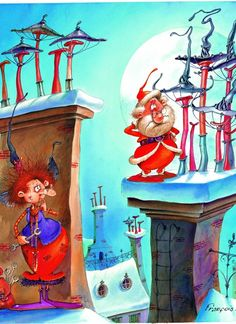 François Ruyer - Die Hexe und der Weihnachtsmann - 300 Teile - GRAFIKA KIDS Puzzle