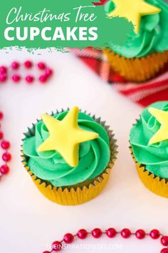 We've prepared a Christmas tree cupcakes recipe that is perfect for your next holiday party. It's easy to prepare and the family would love decorating each cupcake. Visit the link below for the recipe. #christmasfood #cupcakes #christmascupcakes #partyfoods #partyfoodideas #funfood #christmas  #star Christmas Tree Cupcakes, How To Make Christmas Tree, Holiday Cupcakes, Christmas Party Food, Christmas Star, Cupcake Party, Christmas Treats, Easy Cake Recipes, Cupcake Recipes