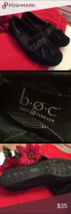 Born Concept (b.o.c) Holland Loafer Beautiful born holland loafer shoe is genuine leather suede trimmed in solid leather. Insole is generic to born and soft inside interior. In excellent condition. Little wear on the bottom. Born Shoes Moccasins