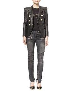Balmain Classic Leather Double-Breasted Blazer & Classic Denim Moto Jeans Fall 2015