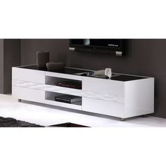 Firenze White Two-drawer Modern TV Stand | Overstock.com