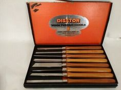 Disston Wood Turning Chisels Set of 8 Carpentry Woodworking Tools Original Box Wood Chisel, Chisel Set, Wood Turning Chisels, Outdoor Tools, Wooden Handles, Carpentry, Woodworking Tools, The Originals, Tableware