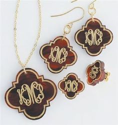Initial Offerings Monogrammed Goods offers beautiful, custom handcrafted monogram jewelry in Sterling Silver, Gold-filled and Gold. On trend acrylic monogram necklaces, monogram watches and hand-painted monogram bangles. Monogram Earrings, Monogram Bracelet, Monogram Jewelry, Personalized Jewelry, Stud Earrings, Quatrefoil, Matching Necklaces, Jewelry Ideas, Jewelry Box