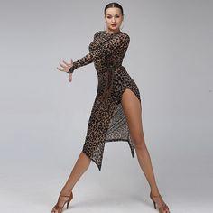 leopard latin dance dress women tango dress salsa rumba modern dance costumes wom latin dress dancing clothes Dancewear