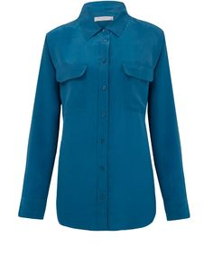 Equipment Blue Signature Silk Shirt  Reduced in Liberty sale. Get this to go with white/black/blue/any jeans. Black blazer over the top. White stilettos!