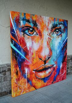 "Fire and Ice Abstract Portrait Painting on Behance. ""Fire and Ice"" Acrylics, Correction Fluid, Spray Paints and Paint Markers on Canvas. Abstract Portrait Painting, Portrait Art, Portraits, Painting Art, Abstract Art, Painting Inspiration, Art Inspo, Tableau Pop Art, Art Visage"