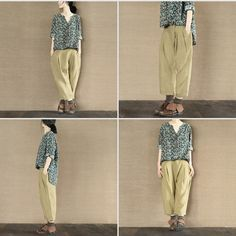 Mustard Yellow Linen Trousers Pants Causel Women Clothes