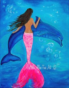 Mermaid Painting Mermaid Art Dolphin by LeslieAllenFineArt on Etsy
