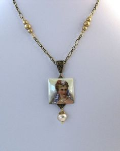 Unique Handmade Gold Lalique Pendant Necklace  by GlobalBrights