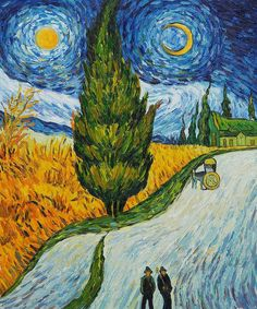 Road with Cypresses - Vincent van Gogh - Painted 12-15 May, 1890, this was the last painting done while in the Saint-Rémy Asylum - Current location: Rijksmuseum Kröller-Müller, Otterlo