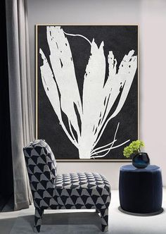 Black and white abstract flower painting minimalist art on canvas #MN9B, modern art by CZ ART DESIGN @CelineZiangArt