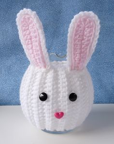 """Bunny Jar Cozy- seriously cute!  Link will lead you to Ravelry and a free pdf download.  Bunny jar cozy fits over a round glass jar/vase that is approx 5-1/2"""" tall, 15"""" around. (by Doni Speigle)"""