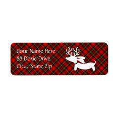 White Reindeer Dachshund Return Address Labels Return Address Label