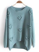 Green Long Sleeve Heart Plush Ball Loose Sweater