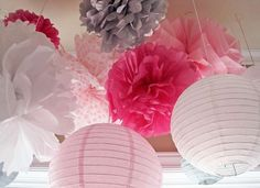Elephant Baby Shower Ideas | Girl, Pink, Gray | Decor | Tissue Pompoms and Paper Lanterns