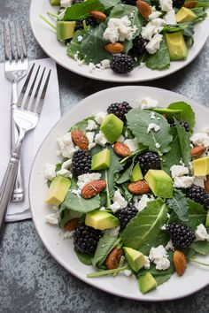 Baby Kale and Blackberry Salad with Ricotta Salata, Avocado and Rosemary Honeyed Almonds from Taste Love & Nourish ***To make this vegan, omit the Ricotta Salata or substitute vegan cheese and omit the honey from the almonds or use agave.