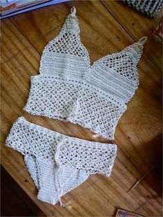 FATIMA CROCHET: Touché Temptair FREE CROCHET PATTERN with step by step for this hipster & long line bra crop top set... TERRIFIC!