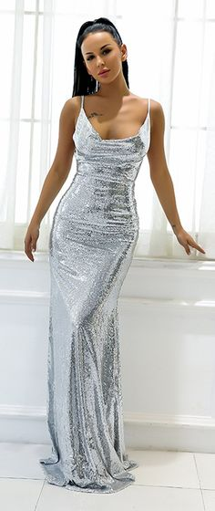 Gorgeous Backless Prom Dresses - Sparkly Sequin Silver Tight Fitted Slit  Floor Length Mermaid Maxi Gown 24fe22a27104