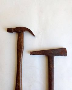 Set of Two Vintage Hand Tools: A Hammer With a Wooden Handle and An All Metal Pick. Vintage Tools, Vintage Metal, Decoration Piece, Types Of Craft, Old Ones, Garden Trowel, Wooden Handles, Clamp, Hand Tools