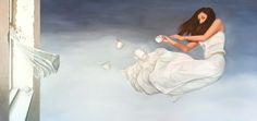 'Groundless' by Tara Spicer. oil on linen. 150x75cm. $3000.