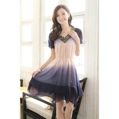 2015 Summer Hot Style Women's Korean Fat MM Big Yards Maternity Dress Loose Chiffon Short Sleeve Dress (Purple)