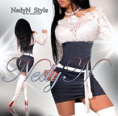 NedyN farmer - törtfehér csipkés női ruha